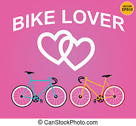 rose, vecto, vélo, amant, backgrond.