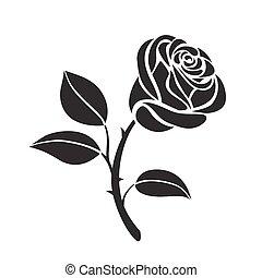rose, vektor, blume, ikone