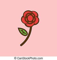 rose, vektor, freigestellt, ikone