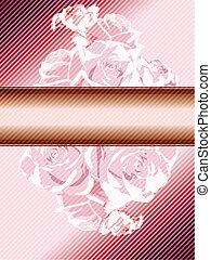 rose, vendange, bannière, roses