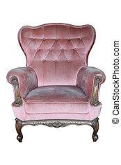rose, vendange, fauteuil