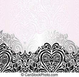 rose, vendange, fond, mariage