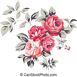 rose, vendange, roses