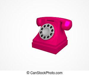 rose, vendange, téléphone, illustration, isolé, arrière-plan., vecteur, téléphone., blanc, 3d