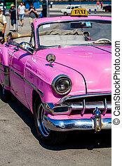 rose, vendange, voiture,  cuba