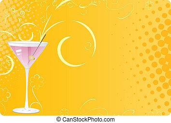 rose, verre, martini, fond, halftone