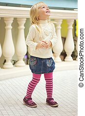 rose, vieux, collants, jean, années, 3, girl, jupe