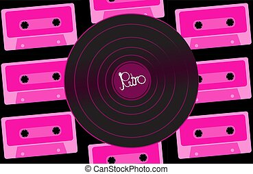 rose, vieux, enregistrement, pourpre, vendange, 90s., illustration, musical, contre, vecteur, hipster, retro, fond, violet, 80s, cassettes, phonographe, audio, analogue, vinyle