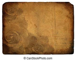 rose, vieux, flower., postcard.
