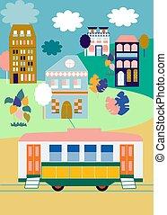 rose, ville, bleu, or, illustration, maisons, coloré