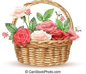 rose, vimine, immagine, realistico, cesto, fiori