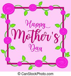 Rose vine Mother's Day card in vector format.