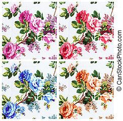 rose vintage on fabric background, set 4 color pink red blue an