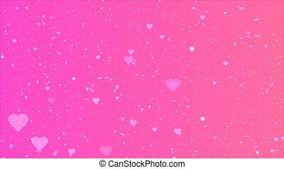 rose, violette pourpre, fond, cœurs