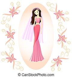 rose, voile, jeune, mariée, girl, robe