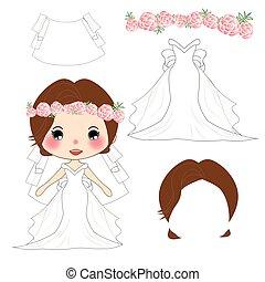 rose, voile, tête, fleur, rose, couronne, déguisement, wreath., mariée, mariage, robe blanche