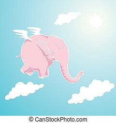 rose, voler, éléphant