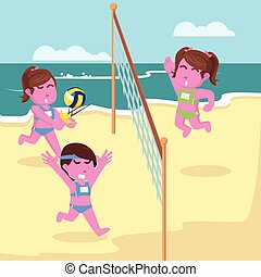 rose, volley-ball, conception, illustration, girl, allumette