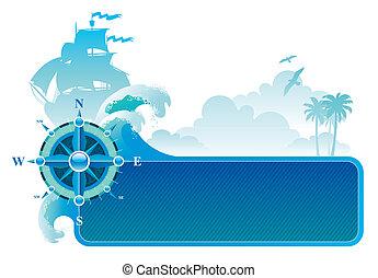 &, rose, voyage, aventures, vecteur, compas, cadre