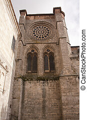 rose window - cathedral facade of avila, in spain
