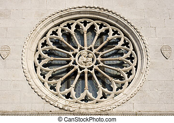 Rose window of Muggia cathedral - Italy