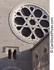 Rose window of Trieste Synagogue, Italy
