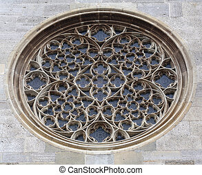 Rose window on St. Stephens Cathedral in Vienna - Rose...