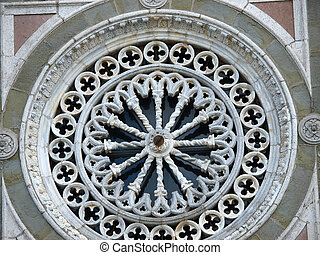 Rose window on the facade of the church of St. Margaret of...