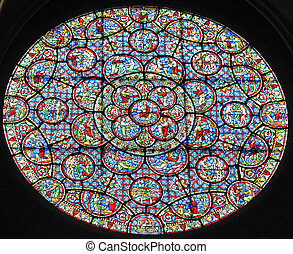 Rose Window - Stained glass rose window in a renassaince...