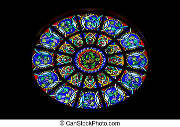 Rose Window - Round stain glass window known as a rose...