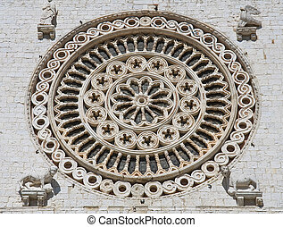 Rose window. St. Francesco Basilica. Assisi. Umbria.