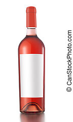 rose wine bottle - Rose wine bottle with label and red cap...