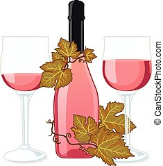 Rose wine bottle with two filled glasses - Rose wine bottle...