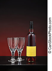 rose wine on a red background