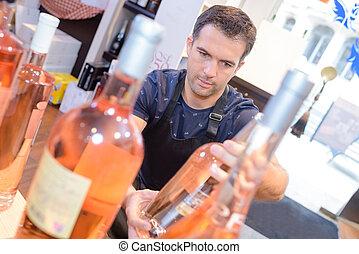 rose wine on display