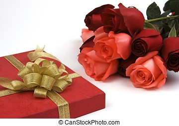 Rose With Gift Box - Rose with gift box in isolated...