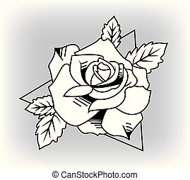 rose with leaves. Vector illustration.