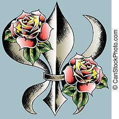 rose with shield emblem