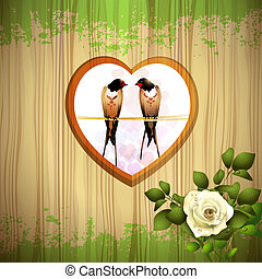 Rose with two swallows and wood background