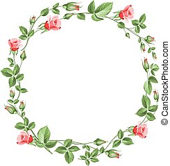 Rose wreath isolated on white.