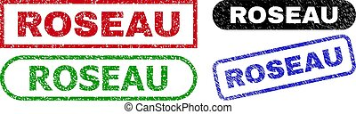 ROSEAU grunge seal stamps. Flat vector scratched seal stamps with ROSEAU message inside different rectangle and rounded shapes, in blue, red, green, black color variants. Watermarks with grunge style.