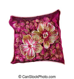 Rosebuds pillow - Purple rosebud pillow isolated included ...