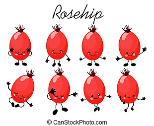 rosehip berry character. Summer berries with eyes and a smile