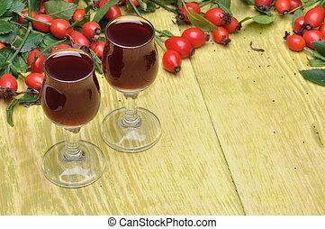 rosehip, fruta, y, alcohólico, licor