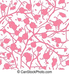 rosehip, modèle, baies, branches, seamless