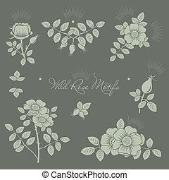 Rosehip motifs vector illustrations set for cards and ...