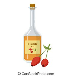 Rosehip oil and berries in glass bottle.