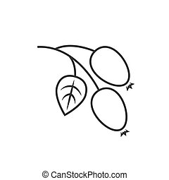 Rosehip outline icon on white background