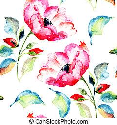 rosehip, seamless, patrón, flor
