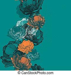rosehip, seamless, vecteur, il, fond, hand-drawing., fleurs